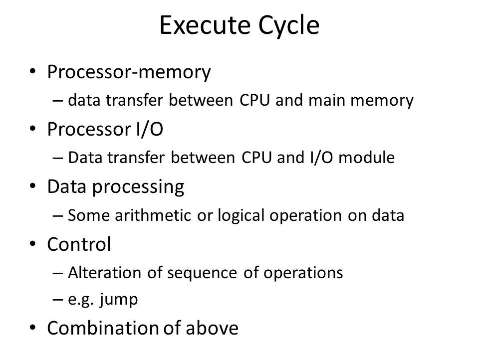 Execute Cycle Processor-memory Processor I/O Data processing Control