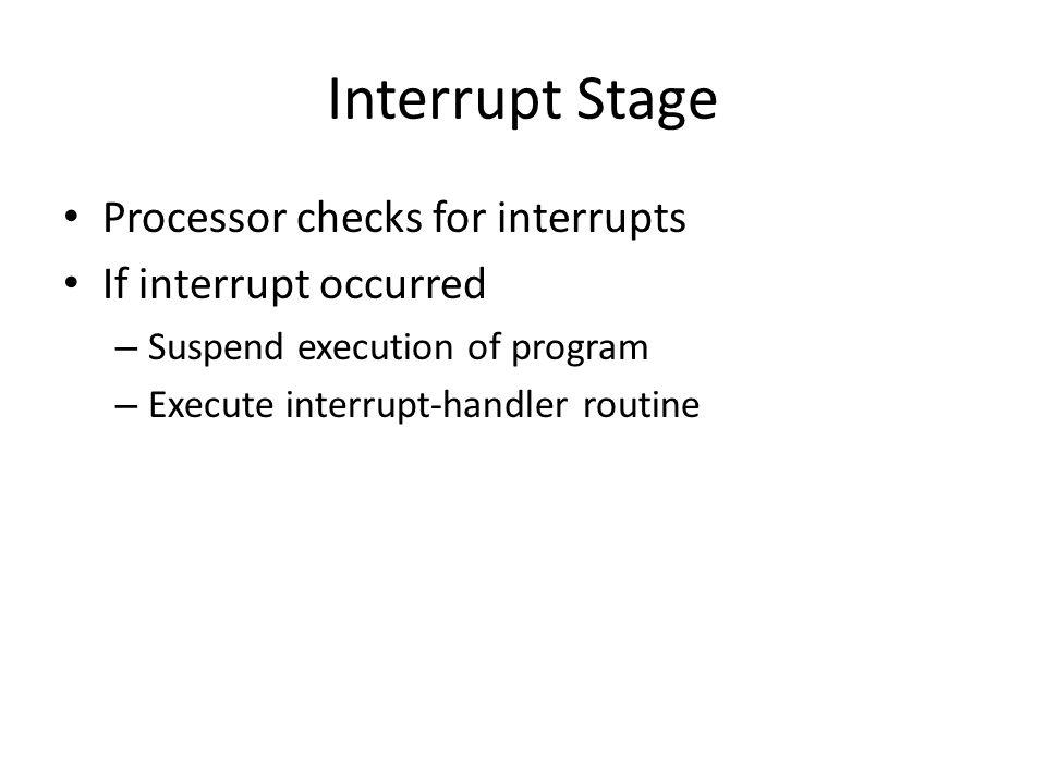 Interrupt Stage Processor checks for interrupts If interrupt occurred