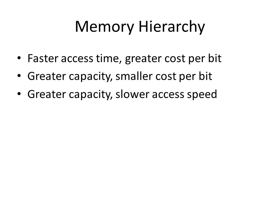 Memory Hierarchy Faster access time, greater cost per bit