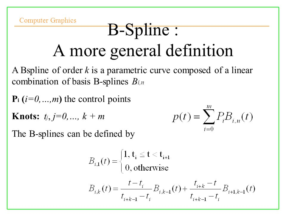 B-Spline : A more general definition