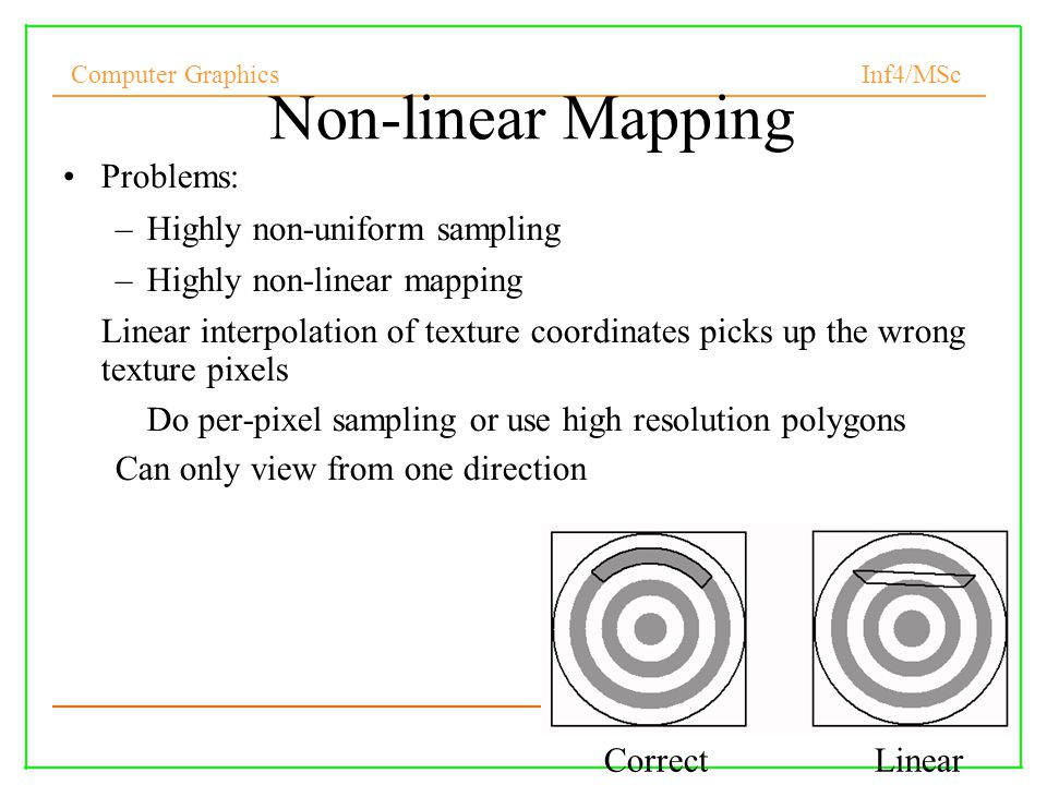 Non-linear Mapping Problems: Highly non-uniform sampling