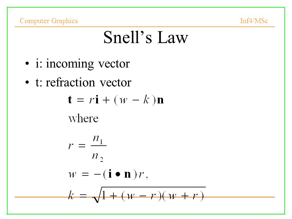 Snell's Law i: incoming vector t: refraction vector