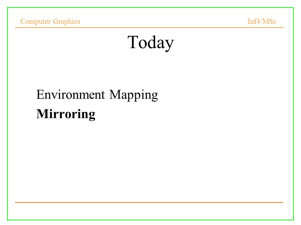 Today Environment Mapping Mirroring