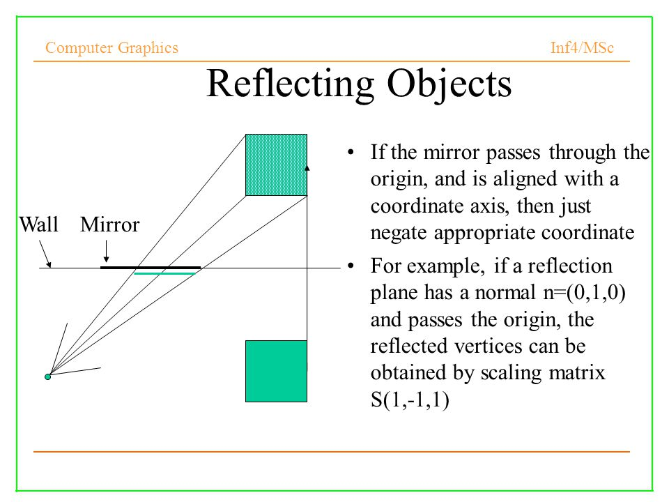Reflecting Objects If the mirror passes through the origin, and is aligned with a coordinate axis, then just negate appropriate coordinate.
