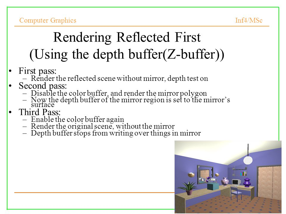 Rendering Reflected First (Using the depth buffer(Z-buffer))