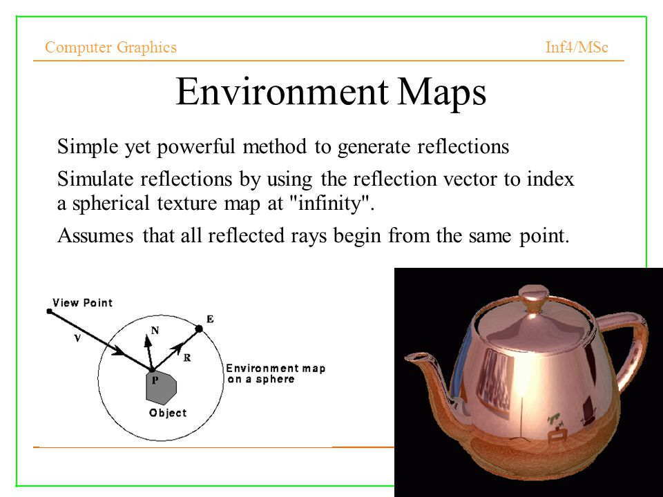 Environment Maps Simple yet powerful method to generate reflections
