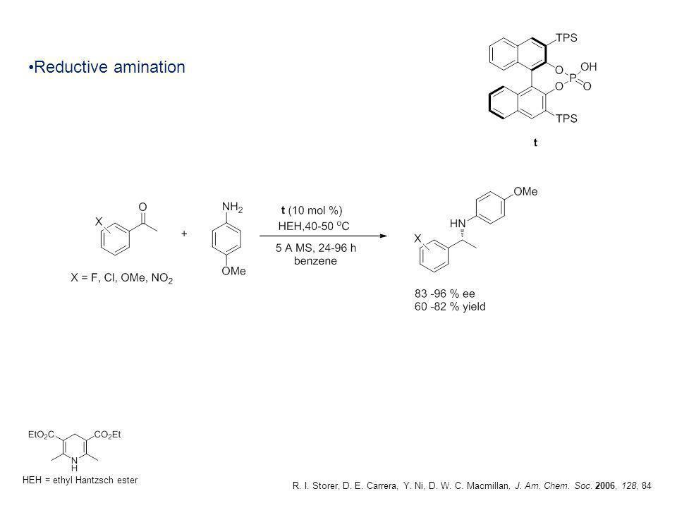 Reductive amination Hantzsch ester acts as a hydrogen source