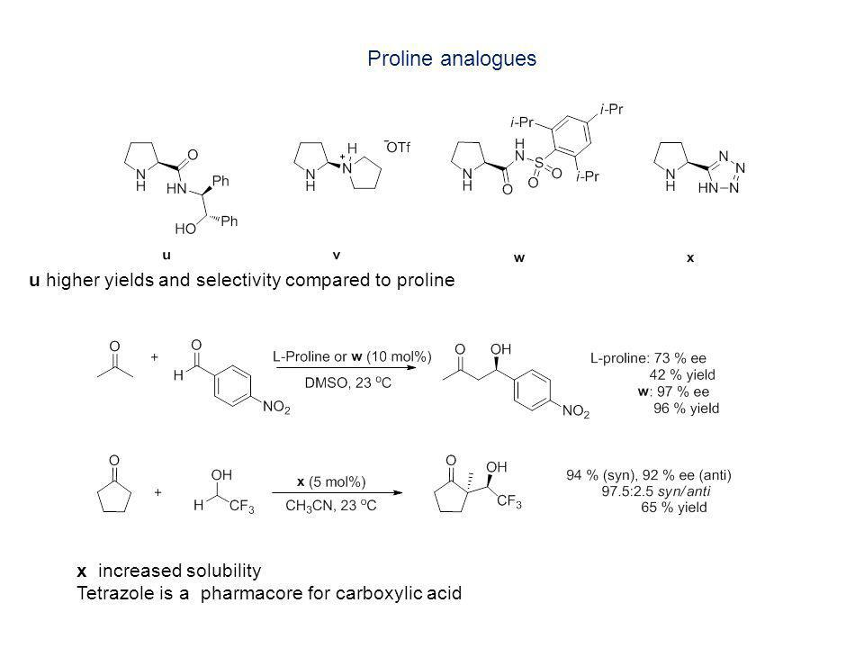 Proline analogues u higher yields and selectivity compared to proline