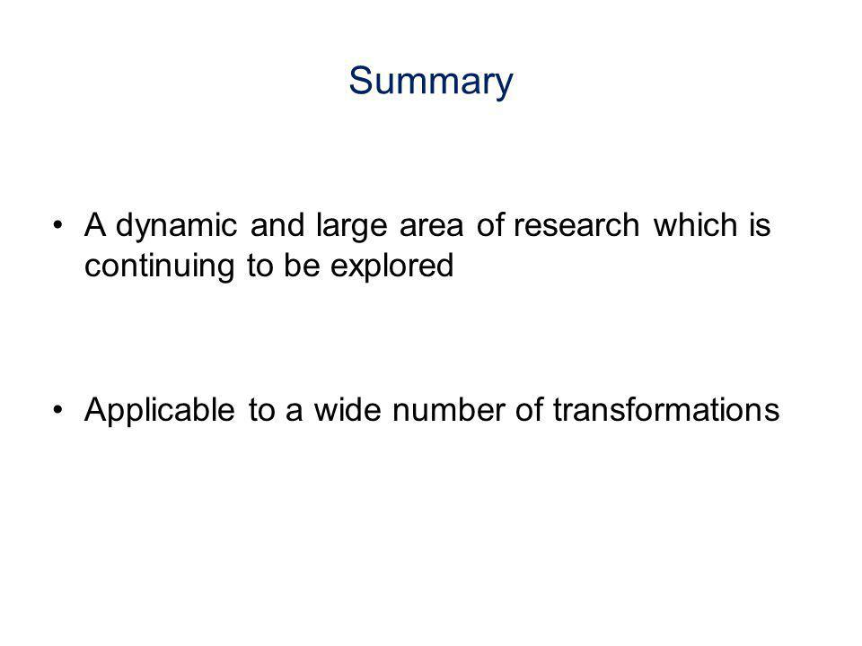 Summary A dynamic and large area of research which is continuing to be explored.