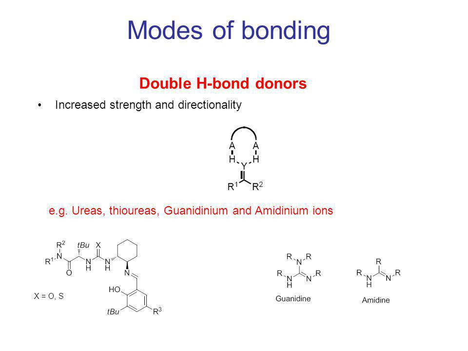 Modes of bonding Double H-bond donors