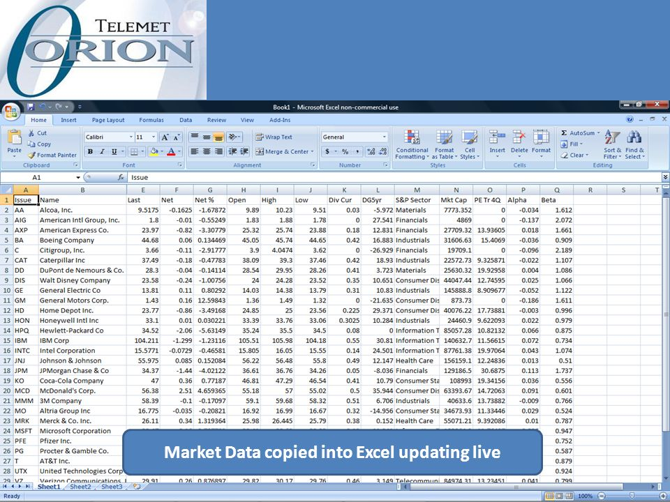 Market Data copied into Excel updating live