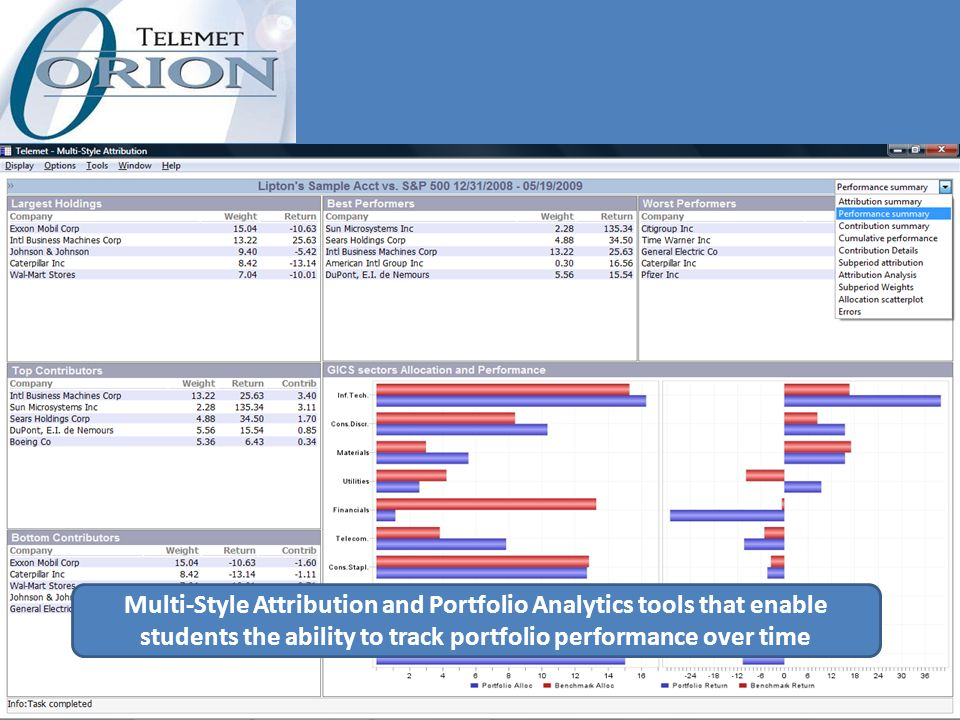 Multi-Style Attribution and Portfolio Analytics tools that enable students the ability to track portfolio performance over time