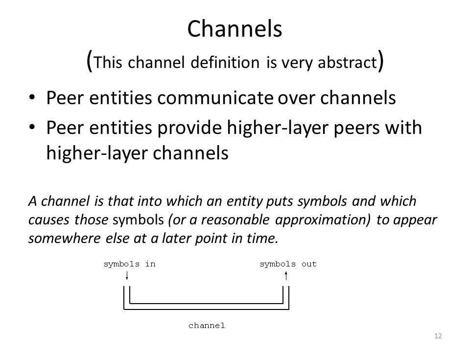 Channels (This channel definition is very abstract)