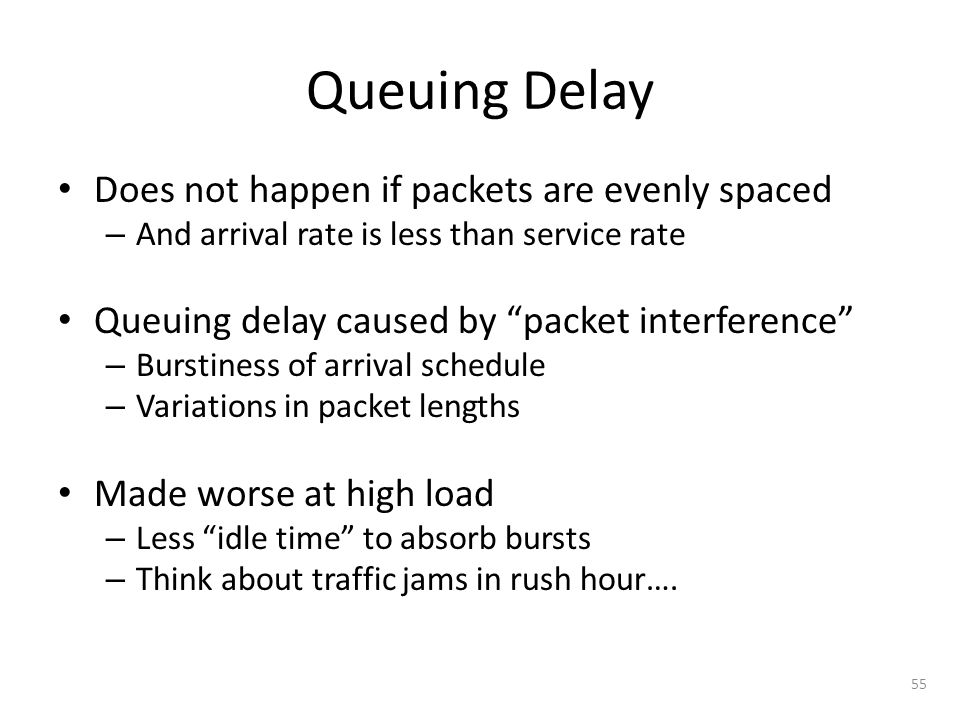 Queuing Delay Does not happen if packets are evenly spaced