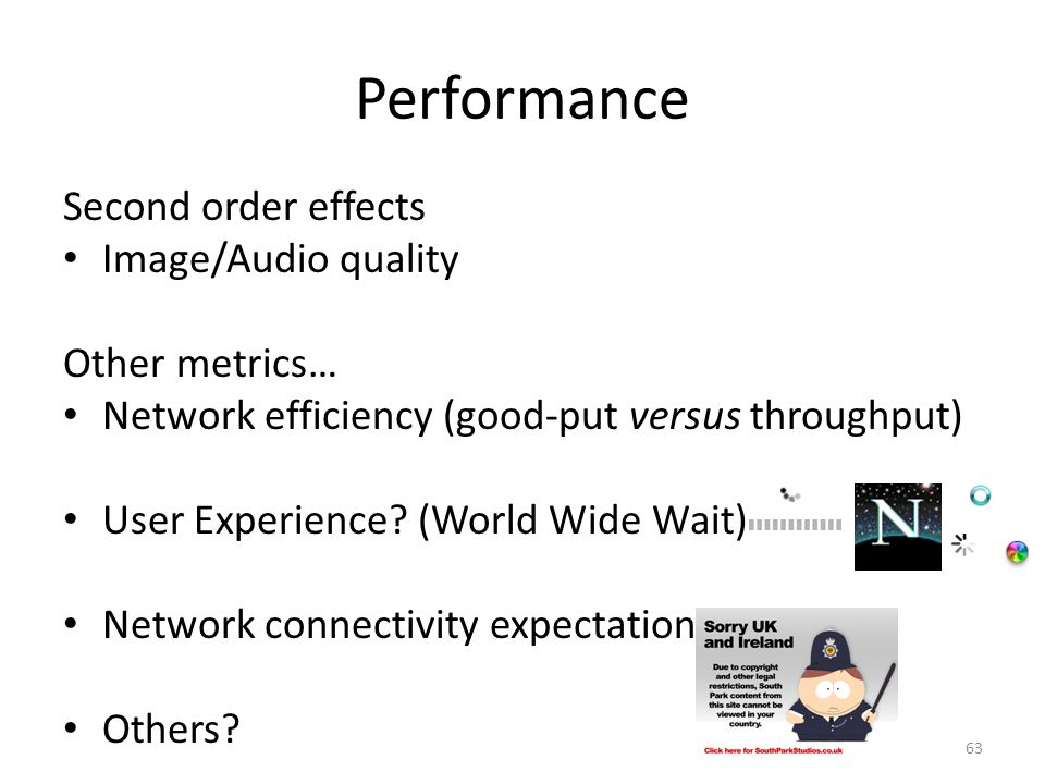 Performance Second order effects Image/Audio quality Other metrics…