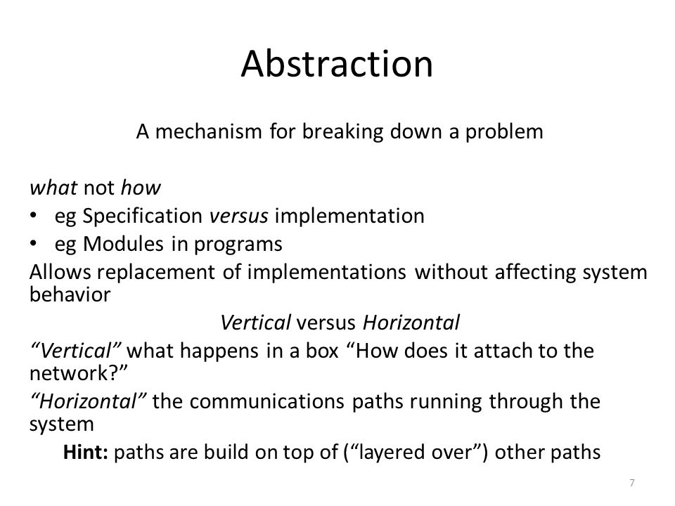 Abstraction A mechanism for breaking down a problem what not how