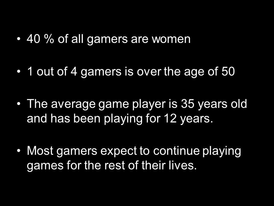 40 % of all gamers are women 1 out of 4 gamers is over the age of 50