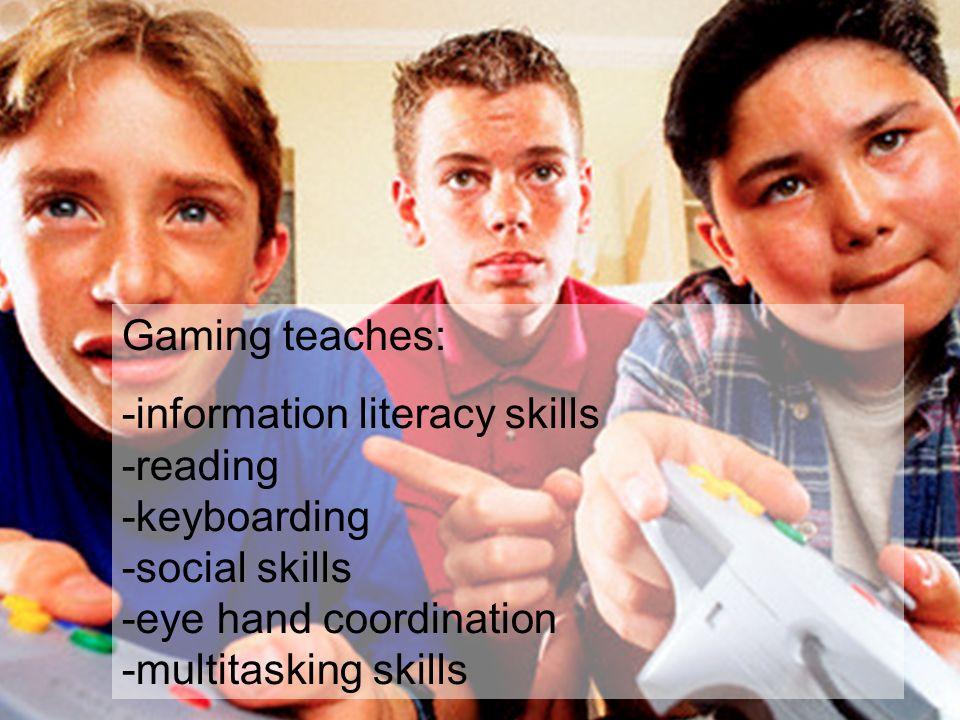 Gaming teaches: -information literacy skills -reading -keyboarding -social skills -eye hand coordination -multitasking skills.