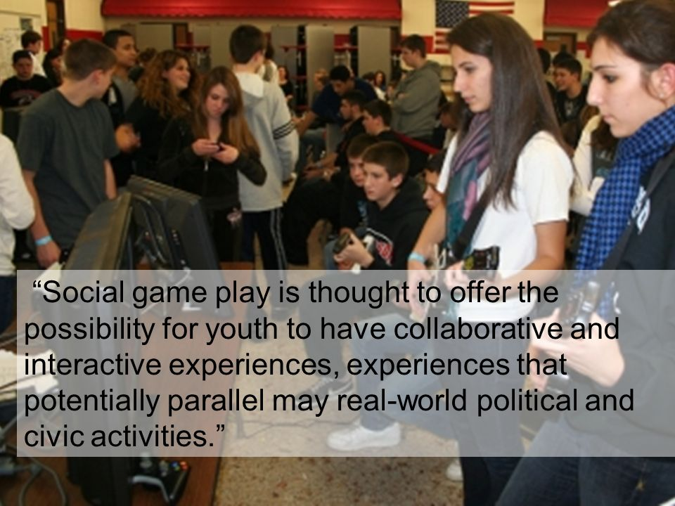 Social game play is thought to offer the possibility for youth to have collaborative and interactive experiences, experiences that potentially parallel may real-world political and civic activities.
