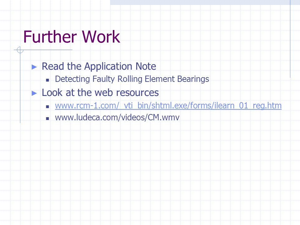 Further Work Read the Application Note Look at the web resources