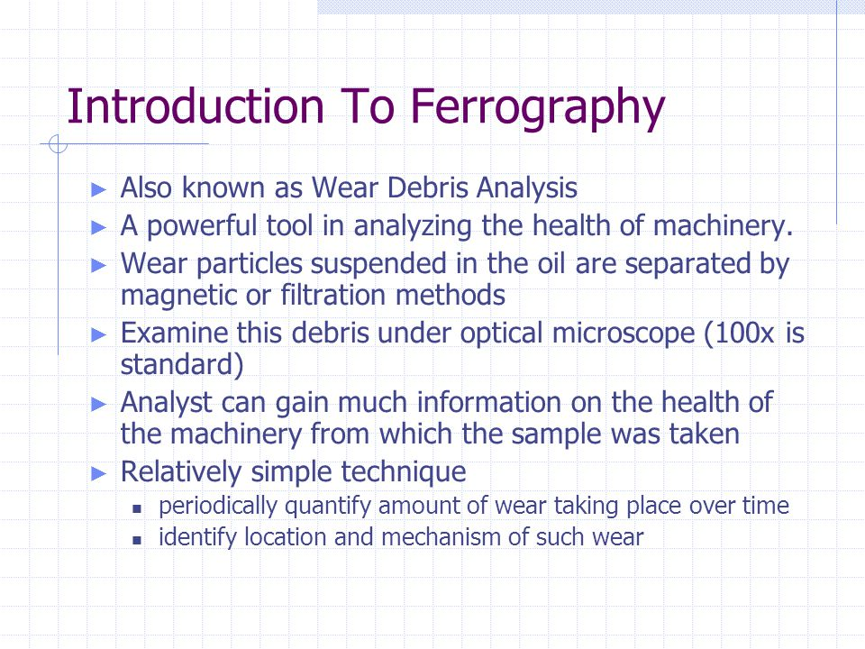 Introduction To Ferrography