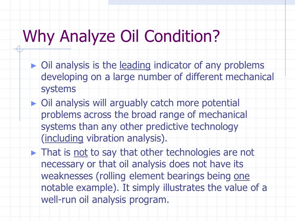 Why Analyze Oil Condition