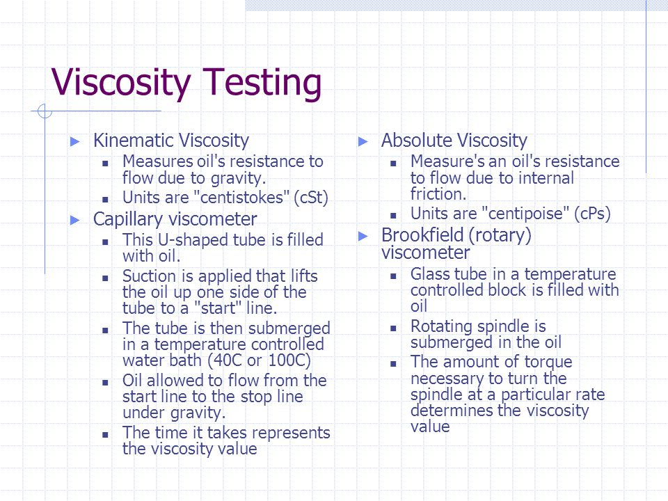 Viscosity Testing Kinematic Viscosity Capillary viscometer