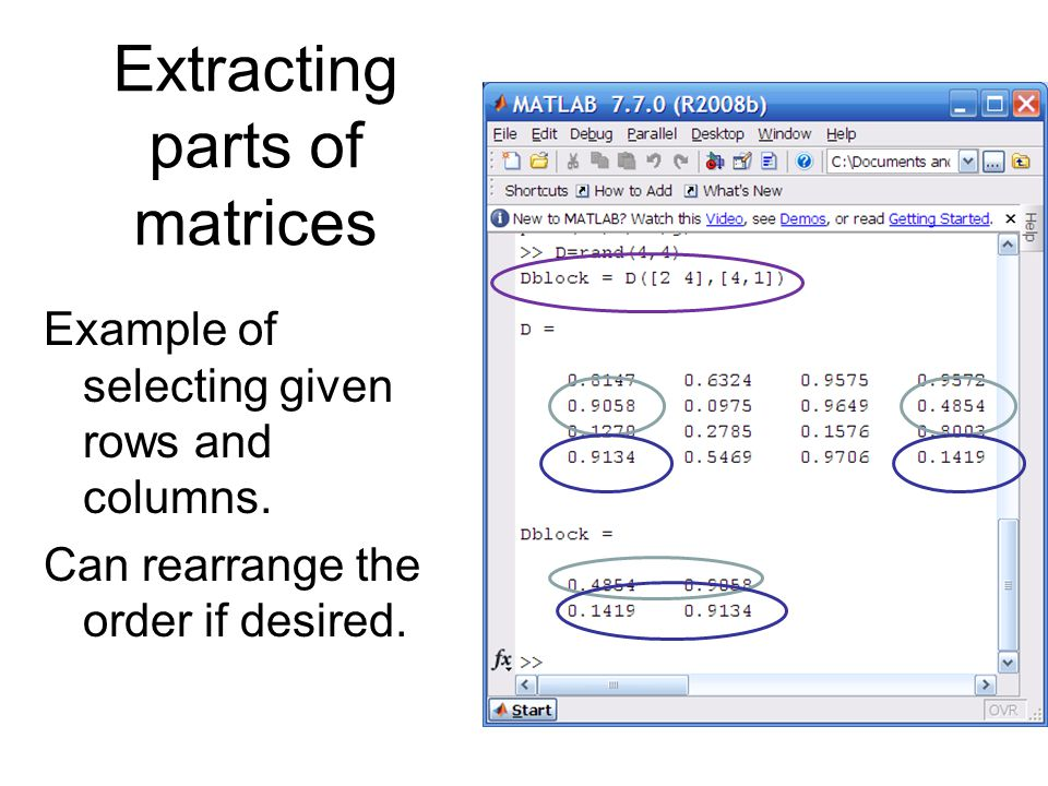 Extracting parts of matrices