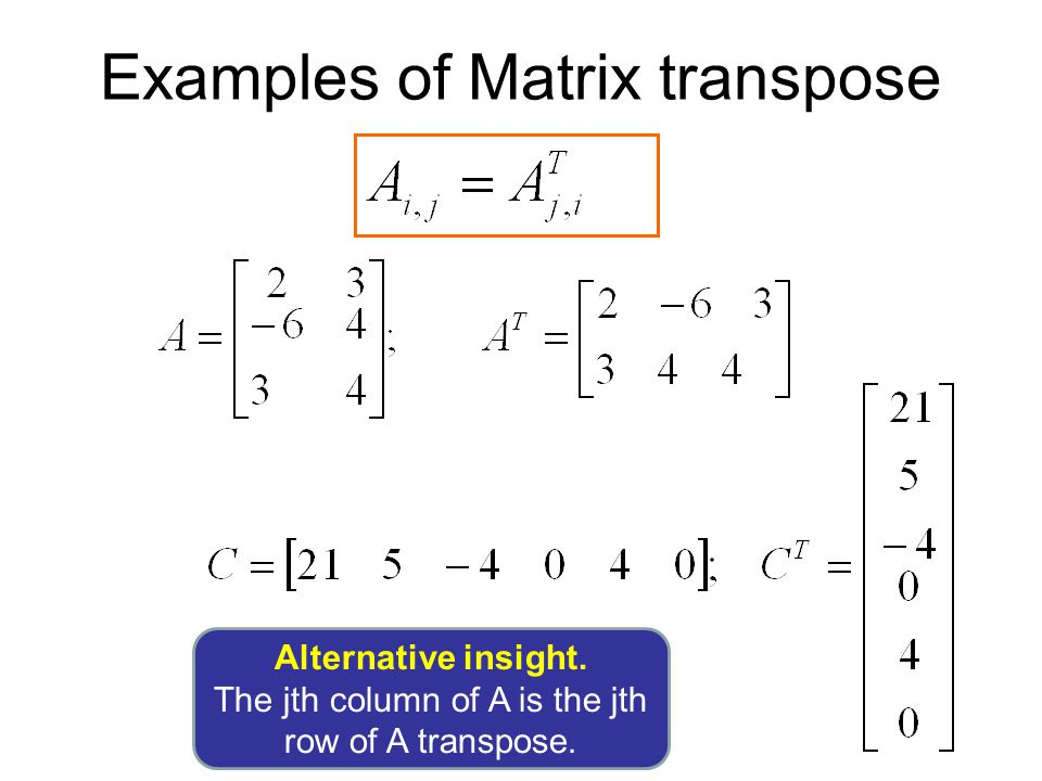 Examples of Matrix transpose