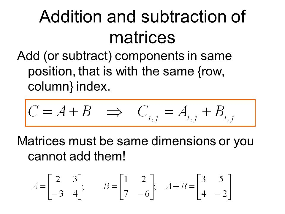 Addition and subtraction of matrices