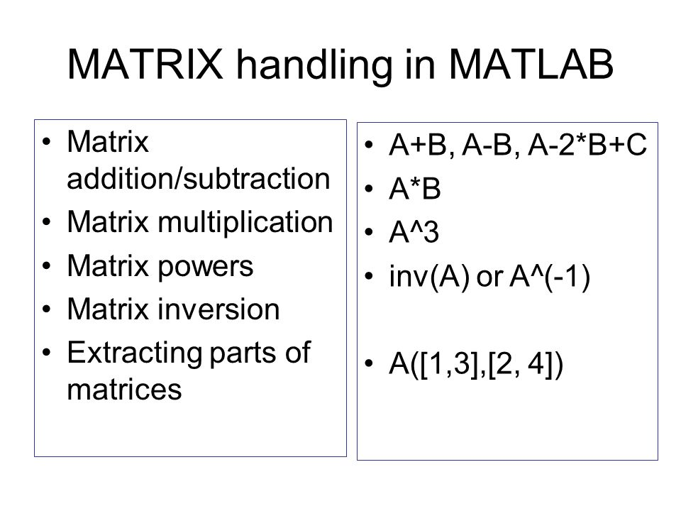 MATRIX handling in MATLAB