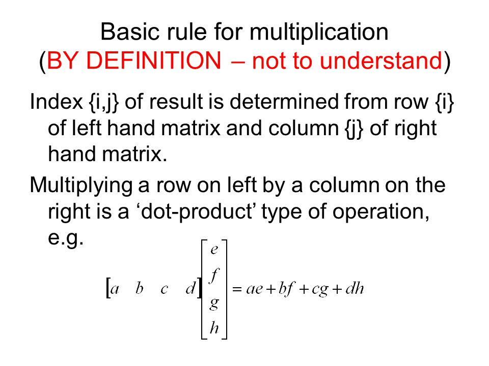 Basic rule for multiplication (BY DEFINITION – not to understand)