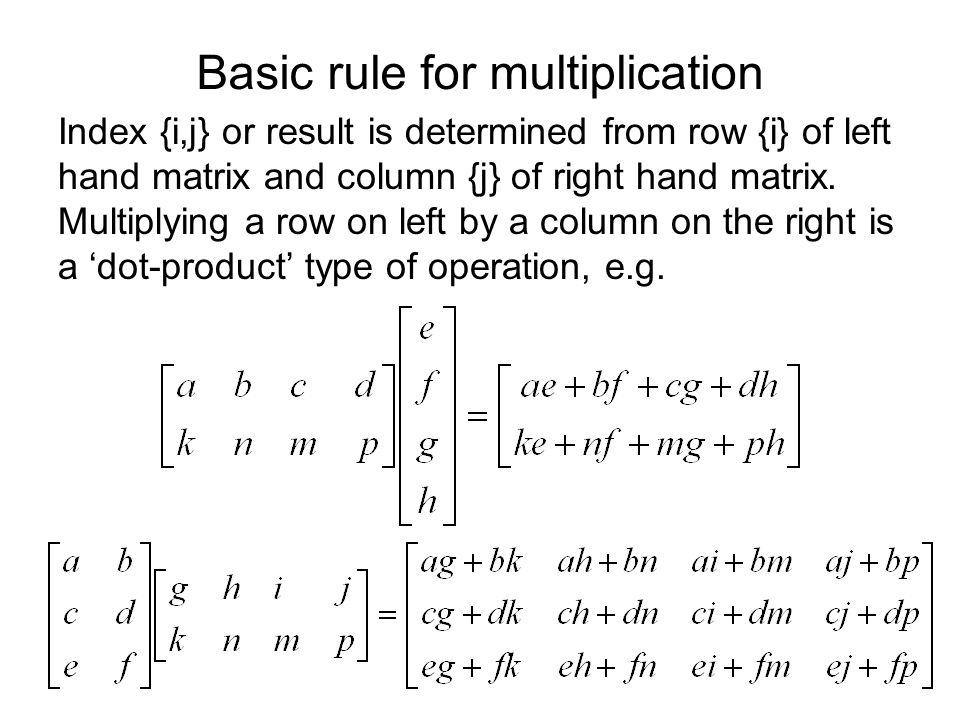 Basic rule for multiplication