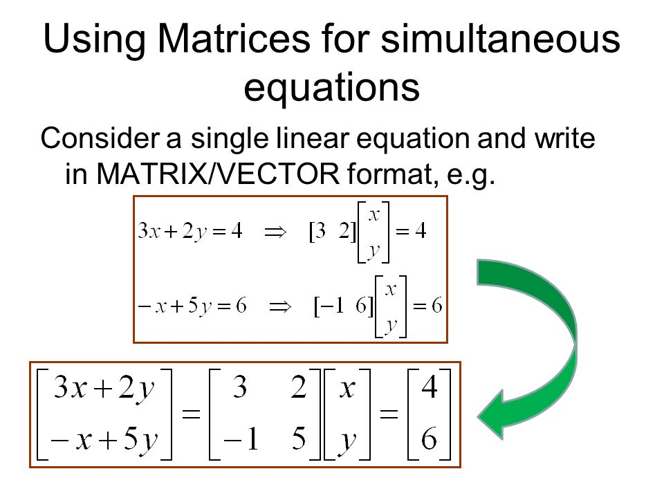 Using Matrices for simultaneous equations
