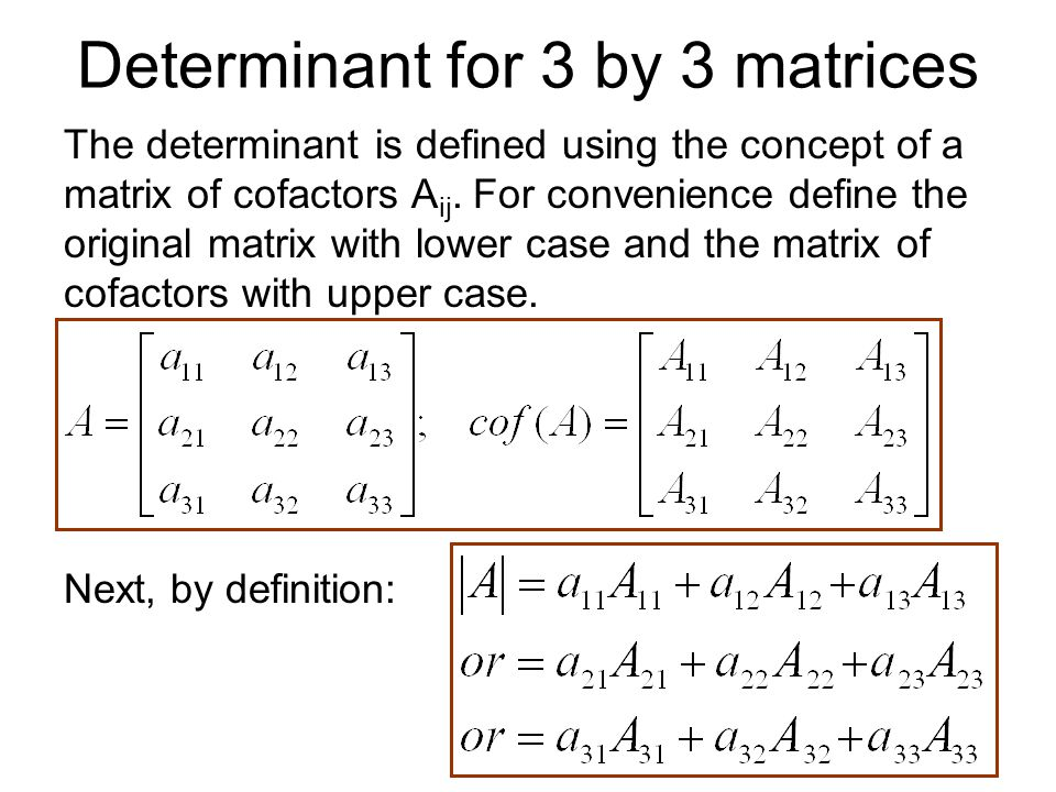 Determinant for 3 by 3 matrices