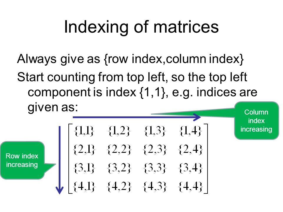 Column index increasing