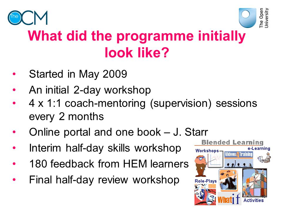 What did the programme initially look like