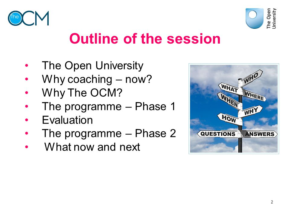 Outline of the session The Open University Why coaching – now