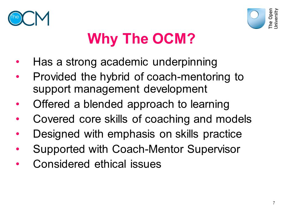 Why The OCM Has a strong academic underpinning