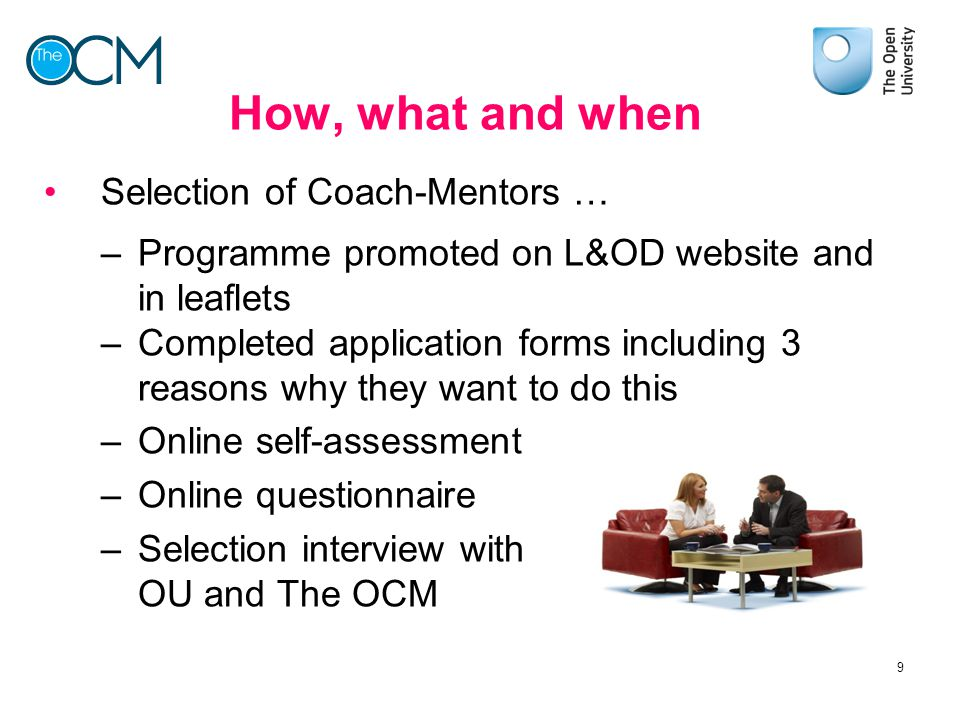 How, what and when Selection of Coach-Mentors …