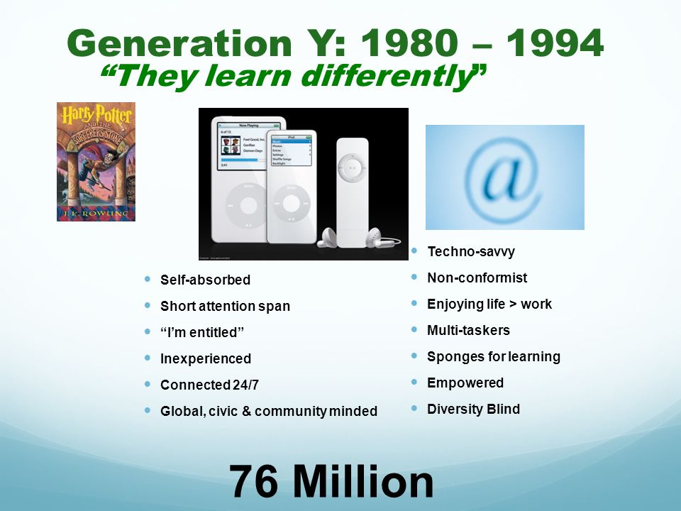Generation Y: 1980 – 1994 They learn differently