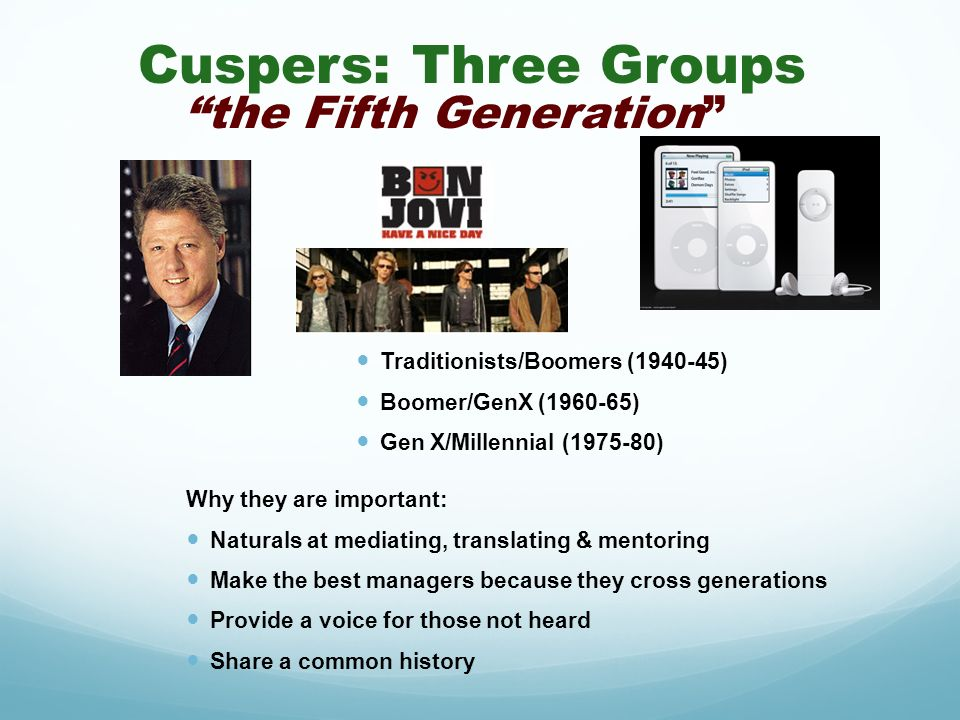 Cuspers: Three Groups the Fifth Generation