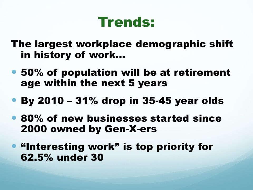 Trends: The largest workplace demographic shift in history of work…