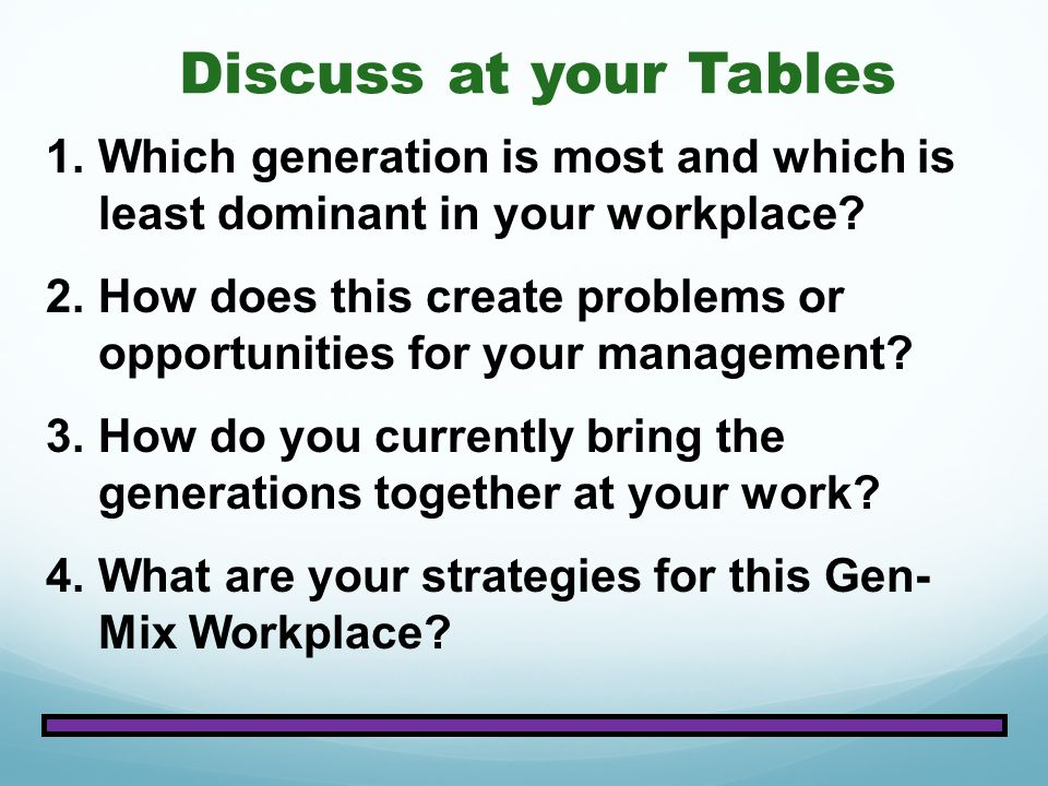 Discuss at your Tables Which generation is most and which is least dominant in your workplace