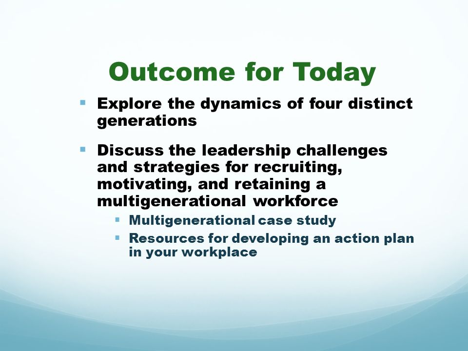 Outcome for Today Explore the dynamics of four distinct generations