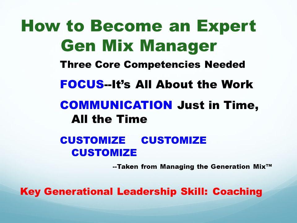 How to Become an Expert Gen Mix Manager