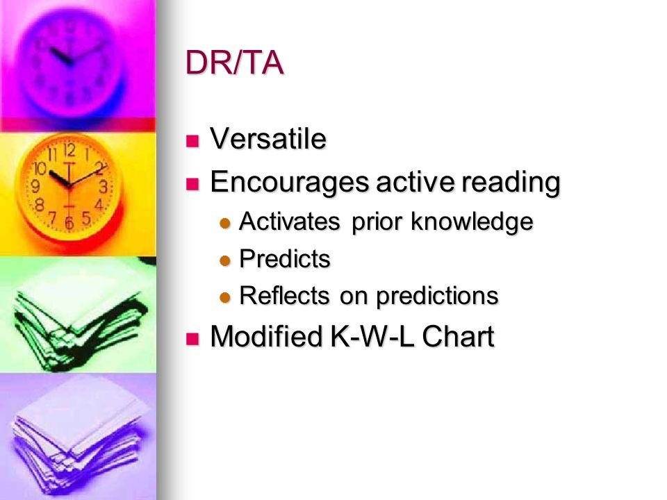 DR/TA Versatile Encourages active reading Modified K-W-L Chart