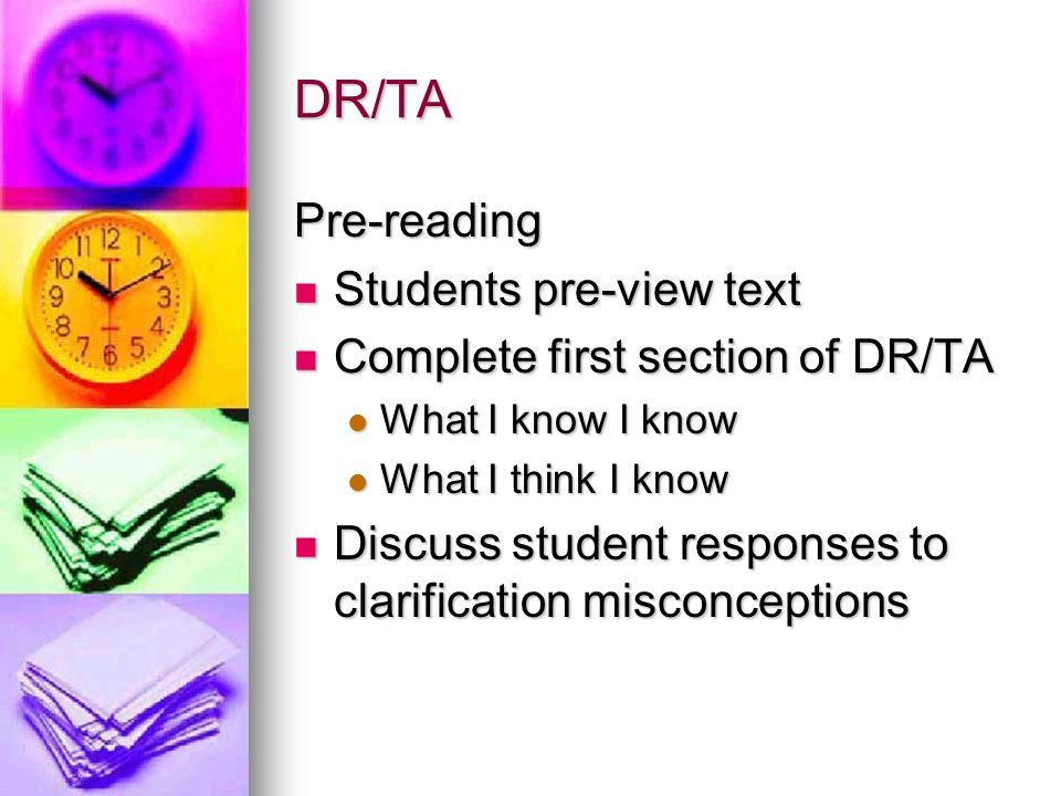DR/TA Pre-reading Students pre-view text