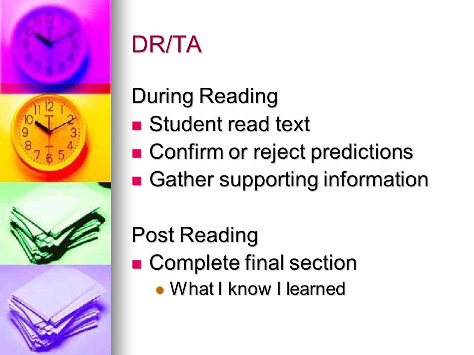 DR/TA During Reading Student read text Confirm or reject predictions