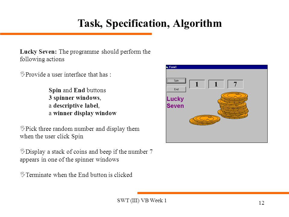 Task, Specification, Algorithm